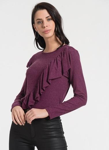 Styletag Volanlı Bluz Bordo